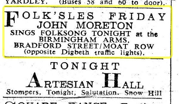 Ad for John Moreton at Birmingham Arms   between Jan 1966 and Dec 1968