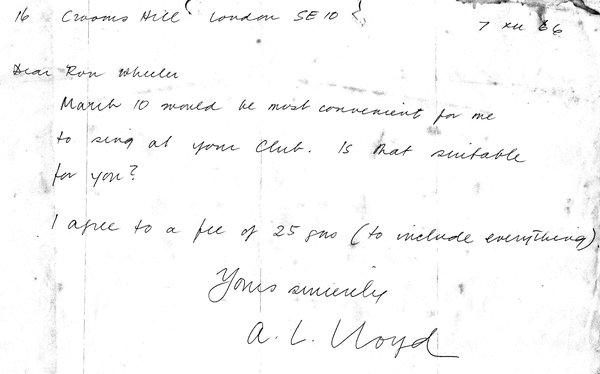 Bert Lloyd Letter 1966