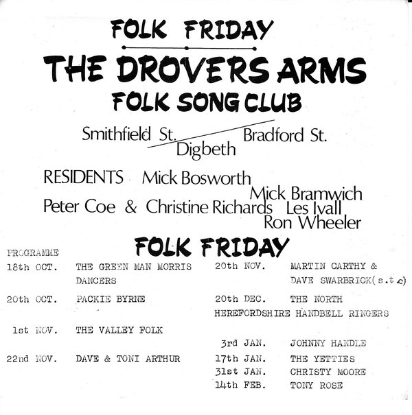 Drovers Arms Club Leaflet Oct 1968 to Feb 1969