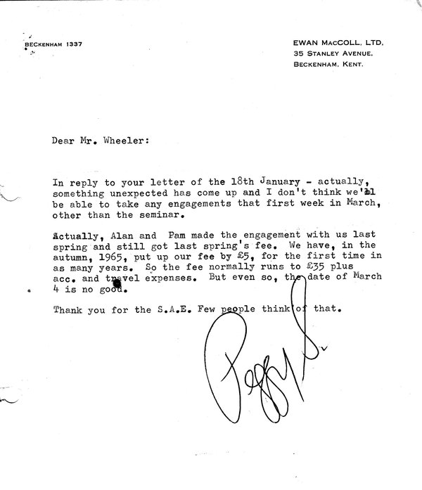 Peggy Seagar Letter