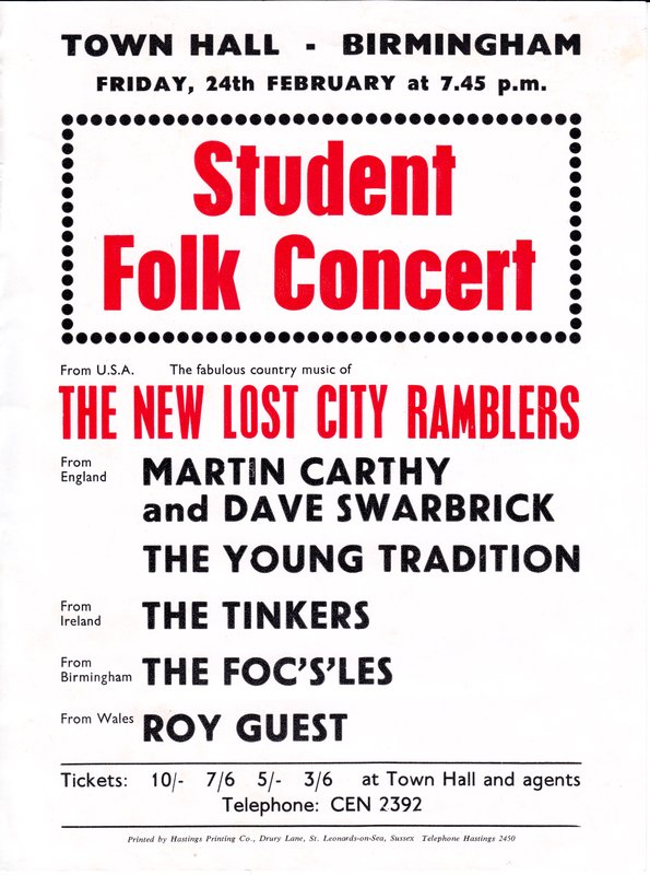 Town Hall Concert 24th Feb 1967